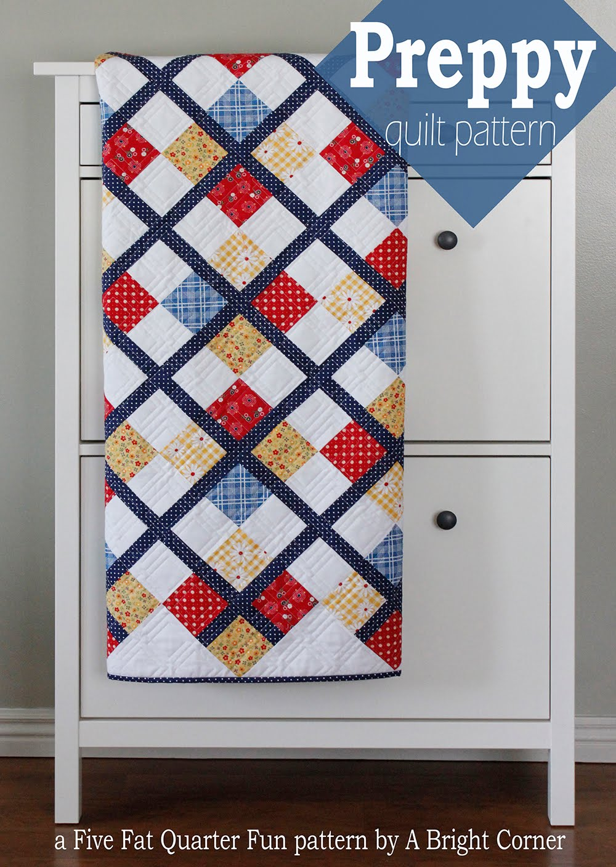 A Bright Corner Five Fat Quarter Fun Preppy Quilt Pattern