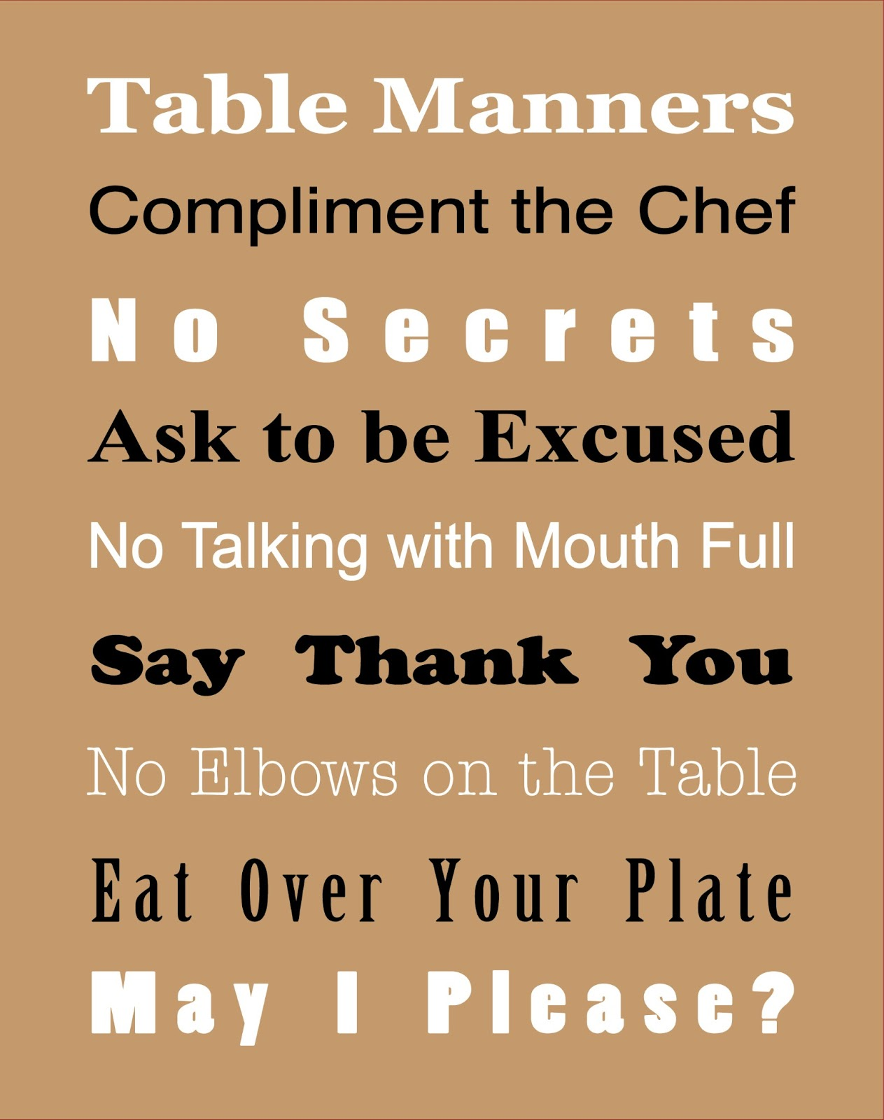Basic table manners free printable true aim for Table etiquette rules