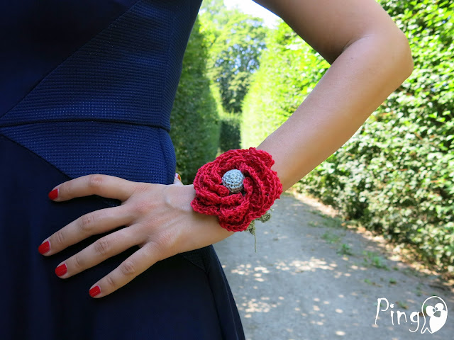 Crochet Rose Bracelet by Pingo - The Pink Penguin