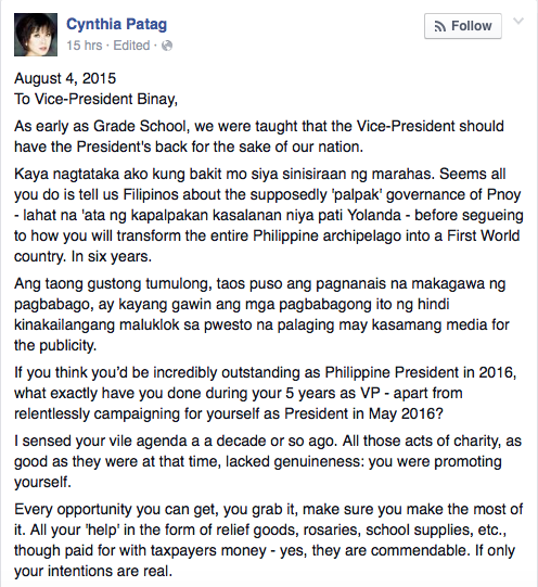 An Open Letter To Vice President Binay