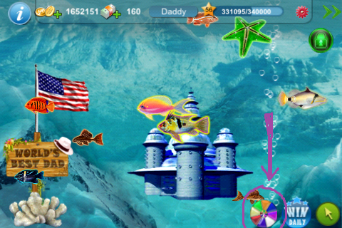 Tap fish fan beating the spin to win mini game for Tap tap fish game