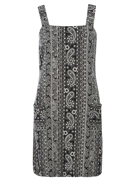 paisley dress, pinafore dress black white,
