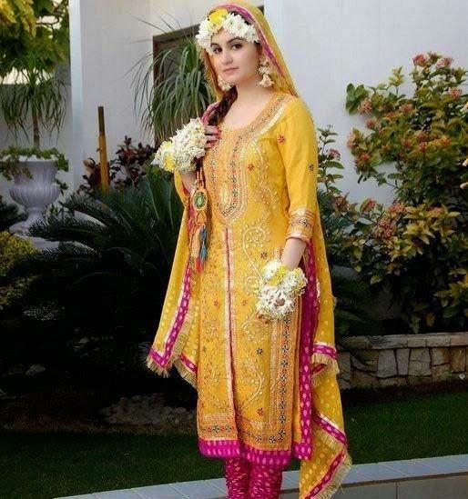 Mehndi dresses for girls 2014 2015 for Pakistani wedding mehndi dresses