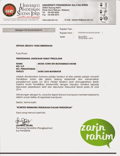 Blog Azrin Rahim Surat Pengesahan Jangka Tamat Pengajian