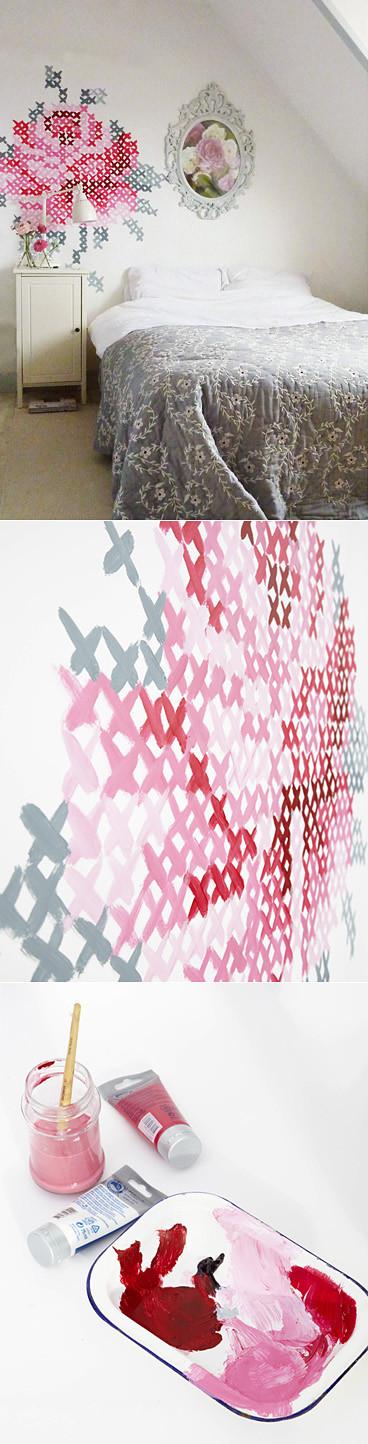 pared decorada con punto de cruz