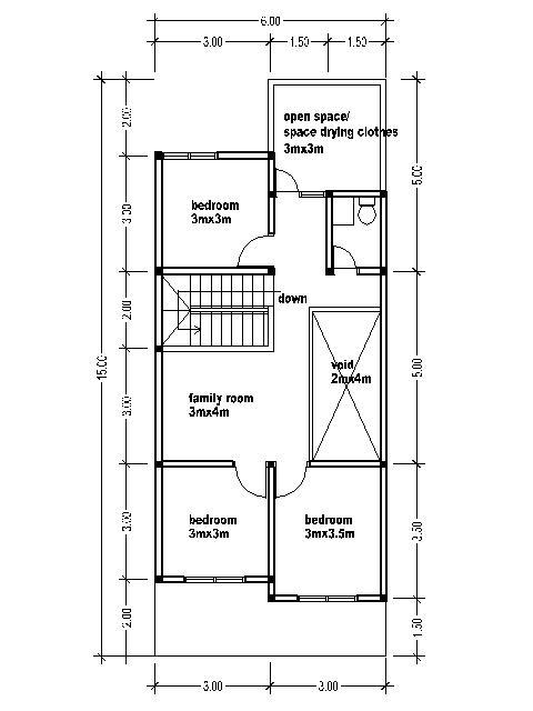 Small two story house plans 6mx15m bedroom furniture ideas - Bedroom small spaces plan ...