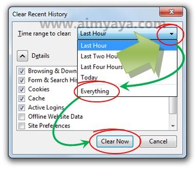 Gambar: Menghapus semua history di Mozilla Firefox