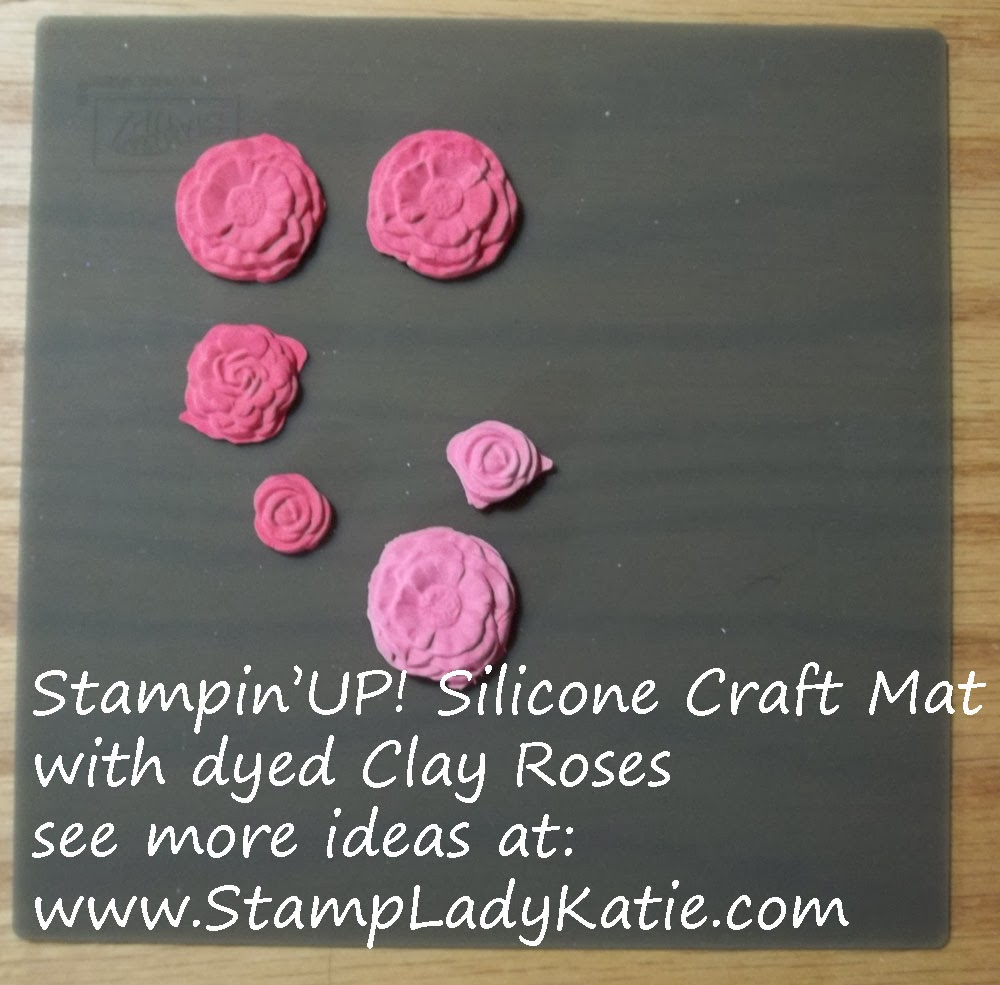 Rose Flowers made with StampinUP Polymer Clay drying on a Silicone Craft Mat