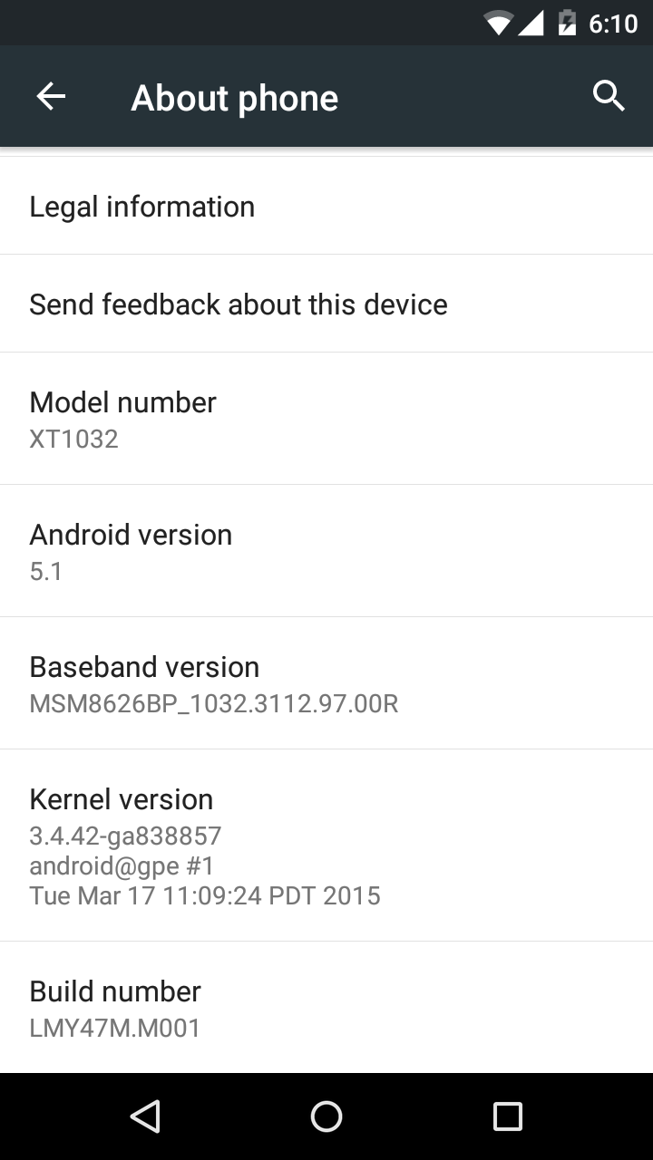 Android 5.1 Moto G Google Play