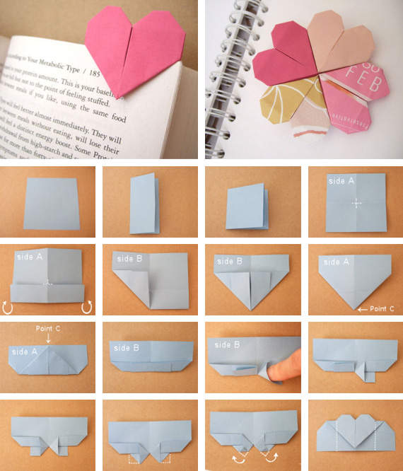 thegluegungirl diy origami heart bookmark