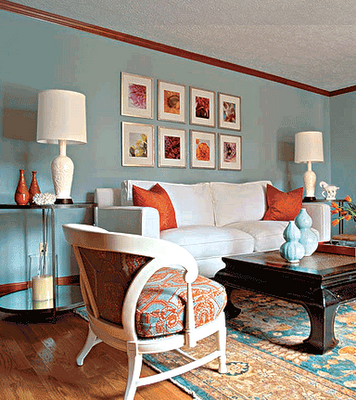 Kensington Bliss Crazy For Blues And Oranges Family Room