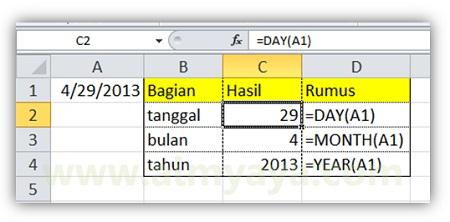 Gambar: Contoh penggunaan fungsi DAY(), MONTH() dan YEAR() untuk mendapatkan tanggal (hari), bulan, dan tahun dari sebuah nilai tanggal (date) di Microsoft Excel