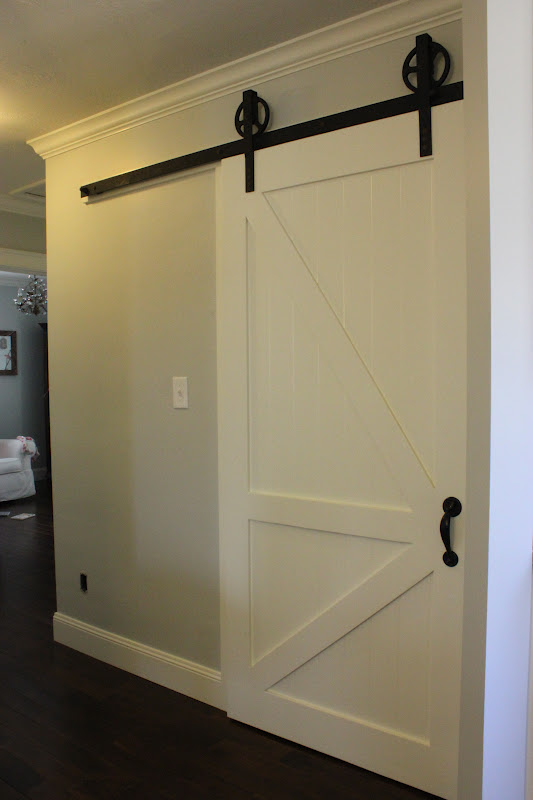 A tree lined street the barn door pantry for Pantry barn door hardware