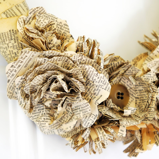 Craftiments:  Closeup of paper flowers on dictionary page wreath