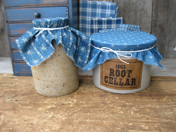 Crocks with Antique Calico Toppers