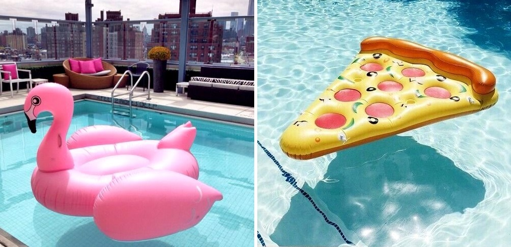 flamingo pool float pizza slice party decoration
