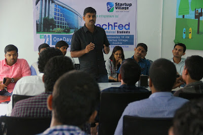 Mr.T P Asharaf Ali Calicut University Syndicate Member Inaugurating TechFed Technological and Entrepreneurial Awareness Workshop