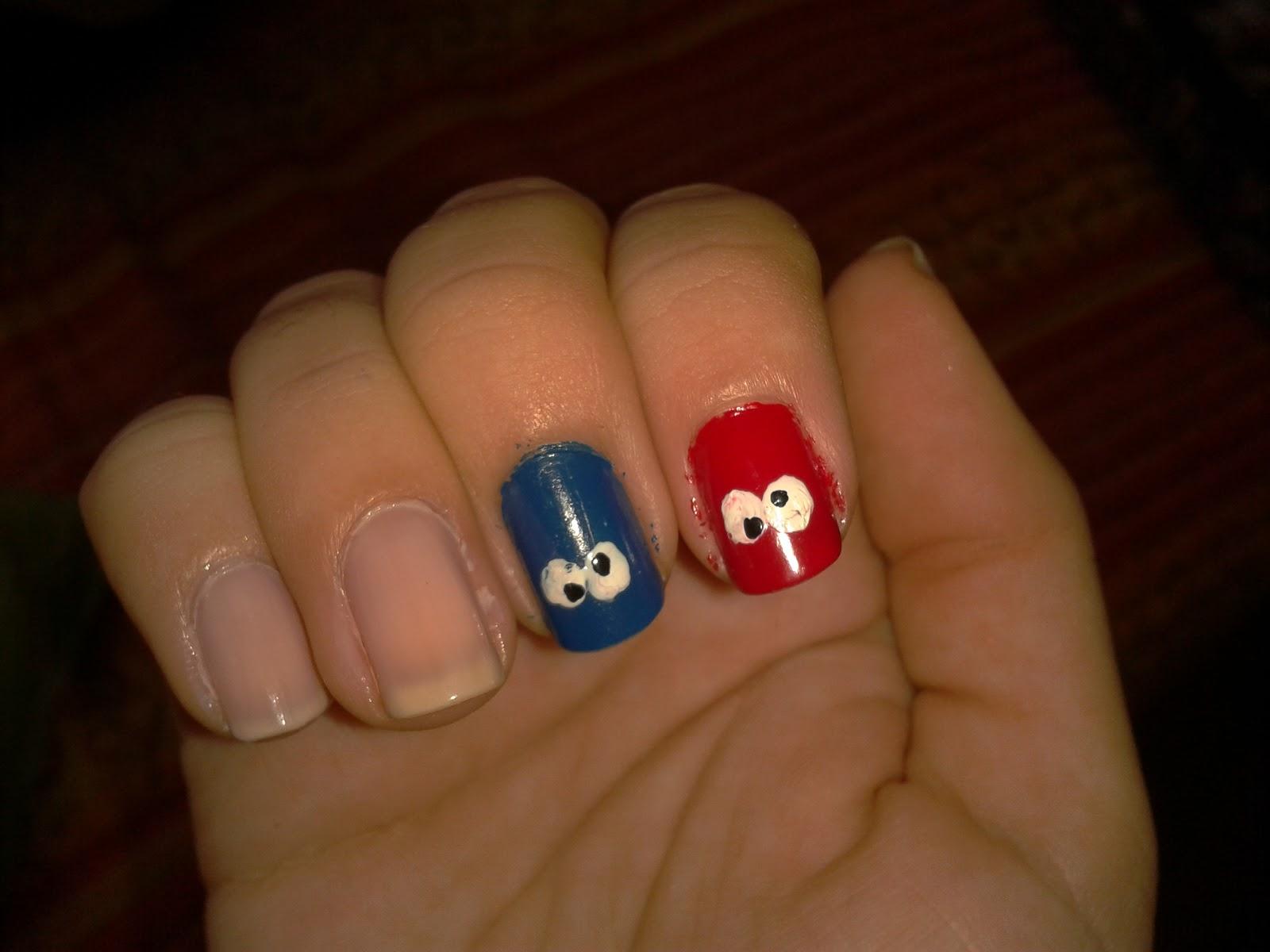 Diseño de uñas: Elmo y el Monstruo de las Galletas