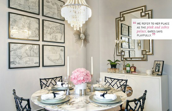 Home decor girly glam inspiration vintage romance style for Glam dining room ideas