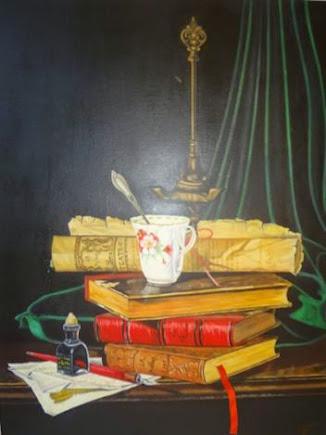 Bodegón de libros con taza