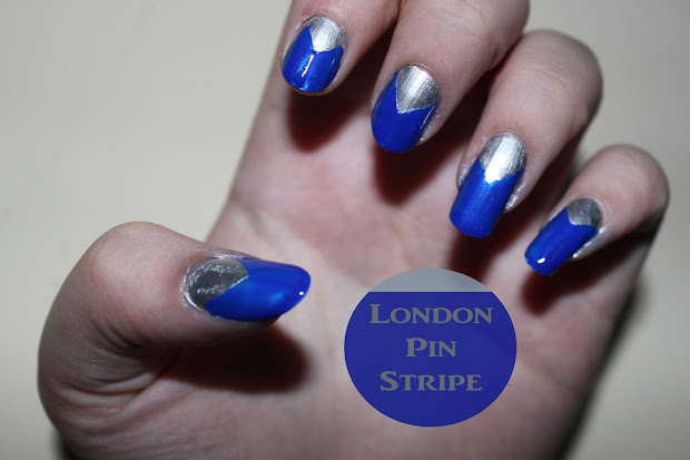 blue chevron nails london pin