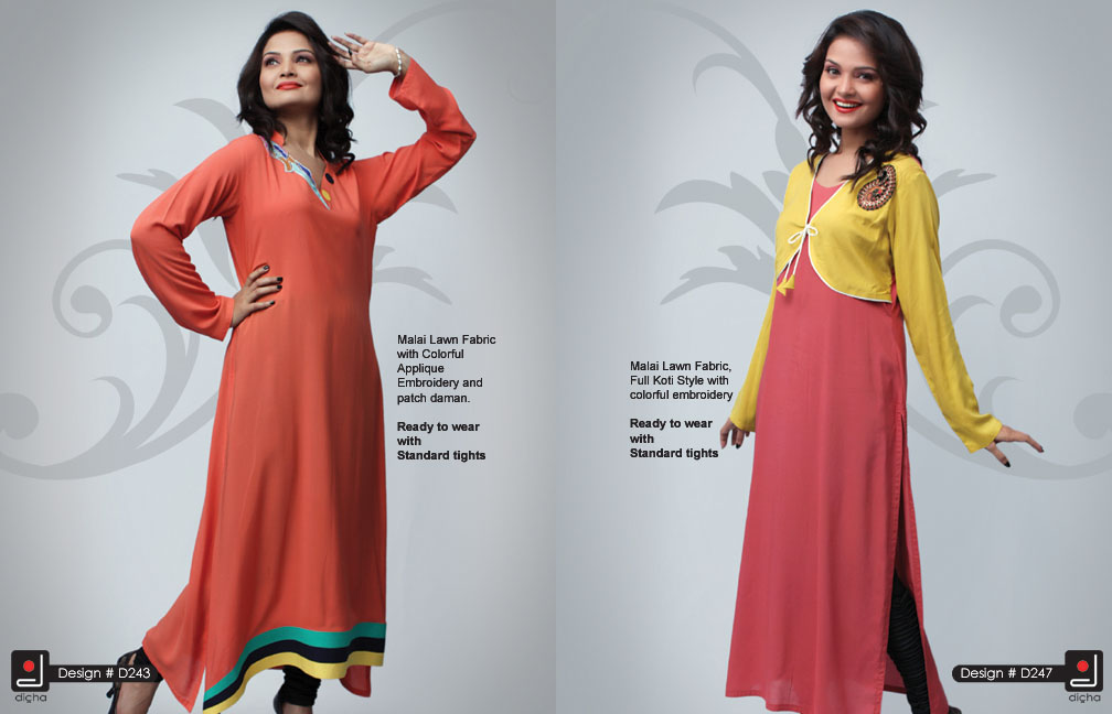 DichaEmbroideredClothing - Dicha Long Kurti Collection 2013