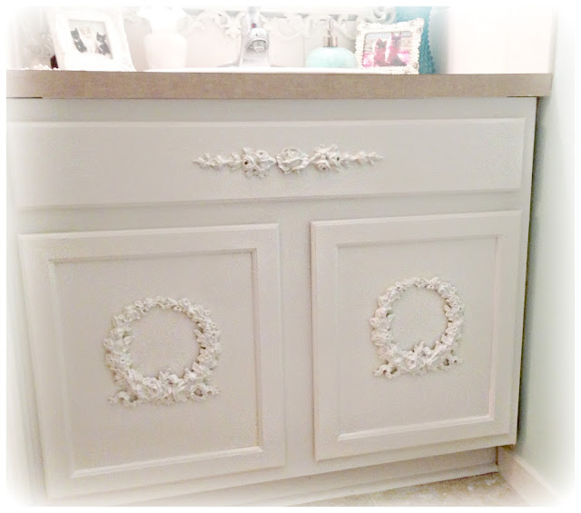 Not So Shabby Shabby Chic Adding Appliques To Bathroom Cabinets
