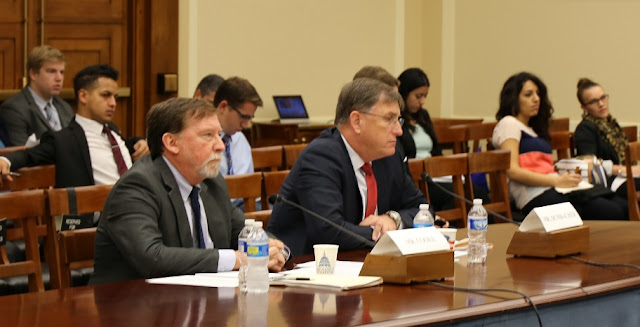 Doug Cooke (left) and Dan Dumbacher (right) testifying before the House Subcommittee on Space on Oct. 9. Photo Credit: House.gov