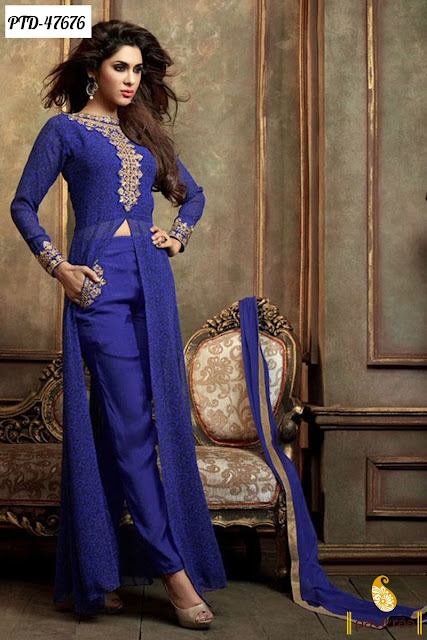 Diwali festival blue chiffon anarkali salwar suit online shopping with best discount deals and offer price in India
