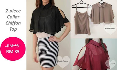Find & Found 2-piece collar chiffon top