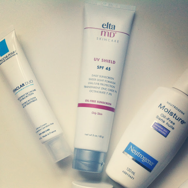 skincare, SPF, beauty, acne, La Roche Posay Effaclar Duo, Elta MD UV Shield, Neutrogena Moisture