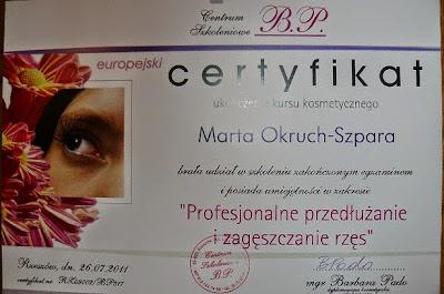 certyfikat - przedłużanie i zagęszczanie rzęs