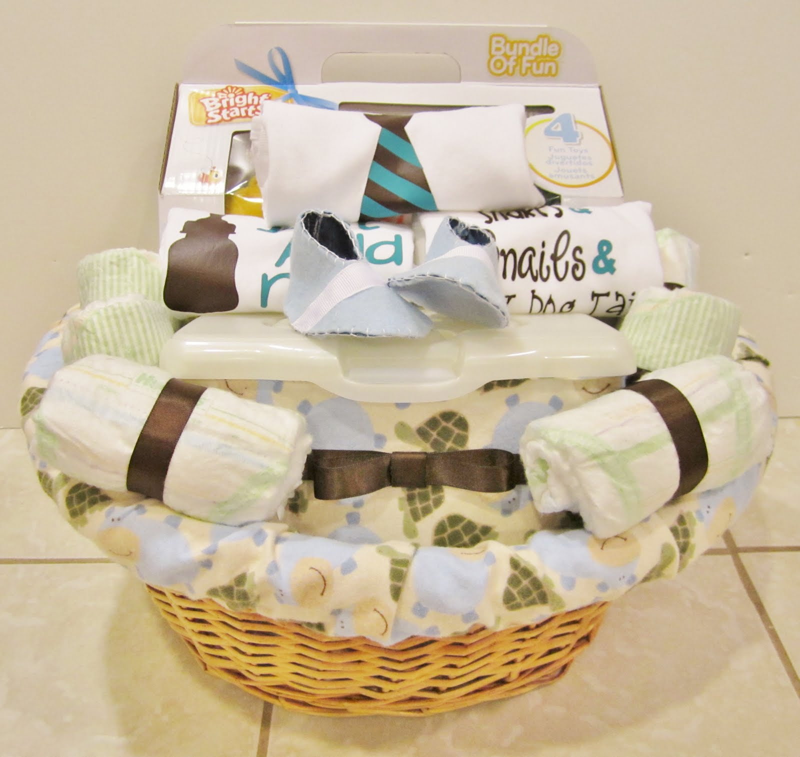 life in the motherhood baby shower gift basket for a baby boy