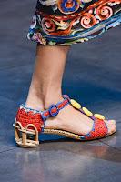Плетени сандали на нисък ток Dolce & Gabbana