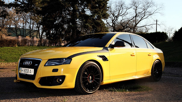 Audi A4 Yellow Color Car HD Wallpaper