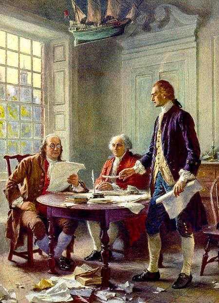 Franklin, Adams, and Jefferson working on the Declaration of independence