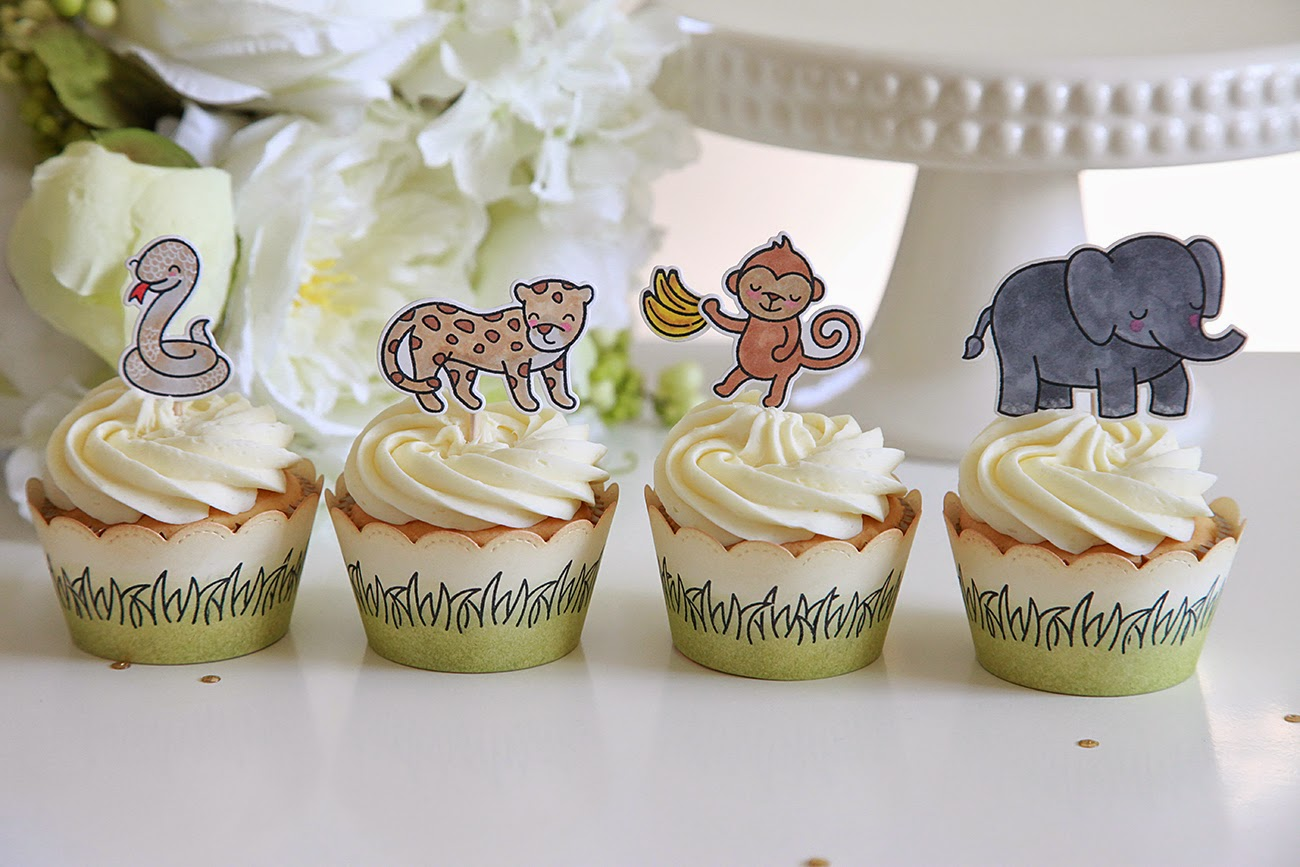 Lawn Fawn Inspiration Week-Scalloped Cupcake Wrapper Die, Grassy Cupcake Wrapper Die, and Scripty Hugs