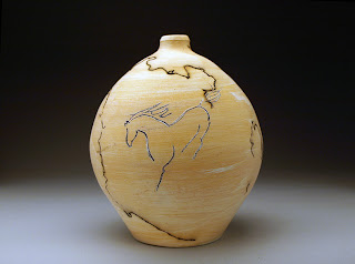 Mishima horse on horse hair raku pot by Future Relics