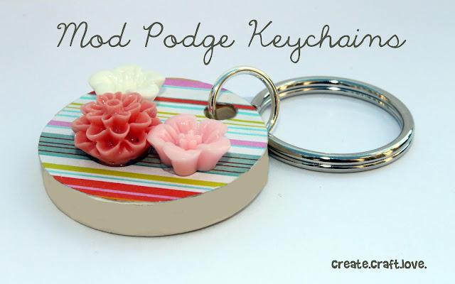 Mod Podge Keychains via createcraftlove.com #modpodge #keychains