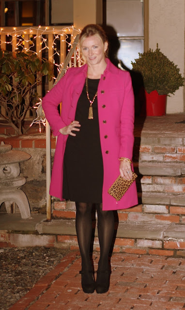 cold night out, Gap, little black dress, LBD, JCrew coat, black and gold, birthday dinner