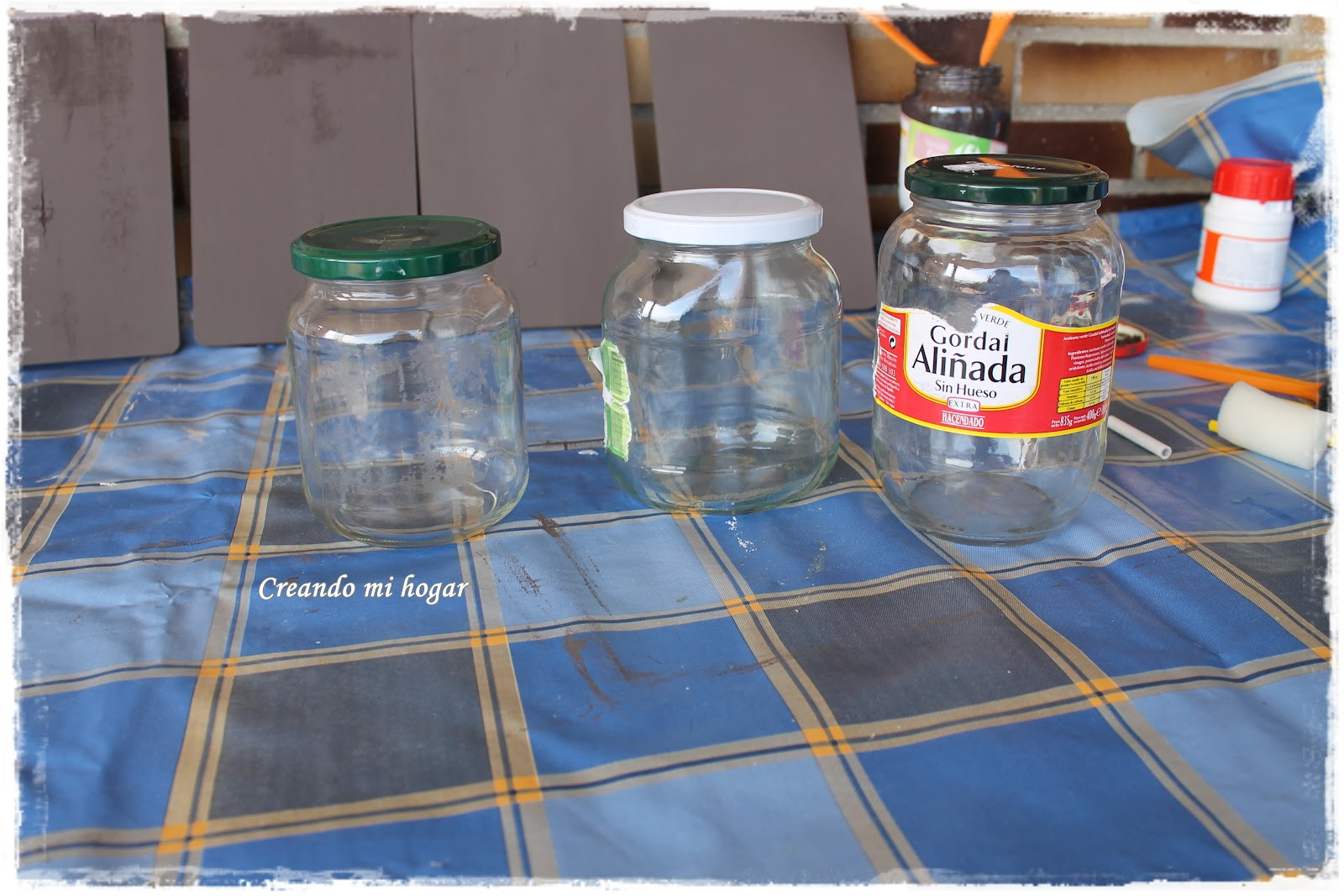 Creando mi hogar reciclando botes de cristal - Quitar pegamento cristal ...