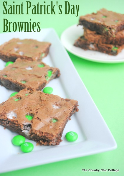 Saint Patrick's Day Brownies -- mix in mint M&Ms for a festive and easy brownie recipe.