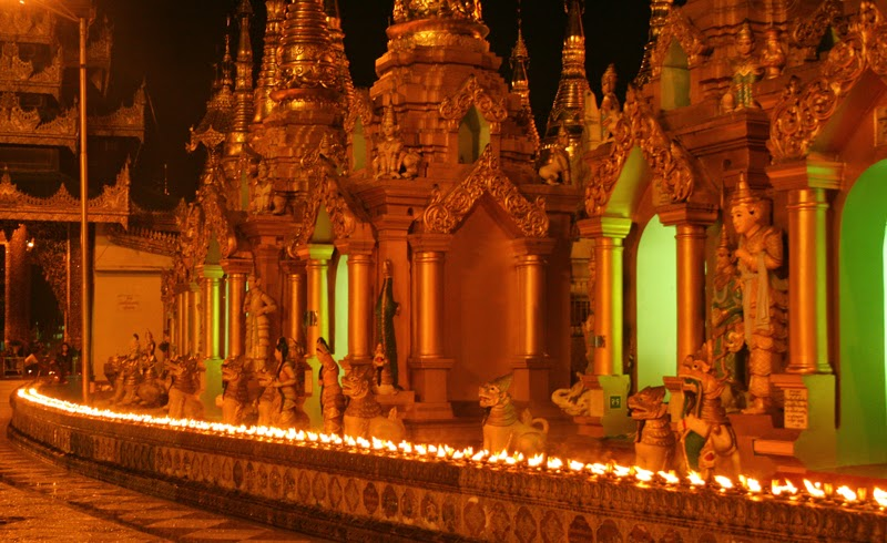 Torches lit at Shwedagon Paya