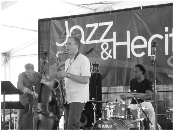 Geof Bradfield - Tenor Saxophone and Kobie Watkins - Drums - Spin Quartet - 2015 Chicago Jazz Festival   Photograph by Tom Bowser