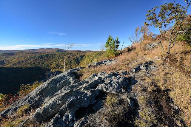 ledges partway along the narrow ridge of Mt. Negus