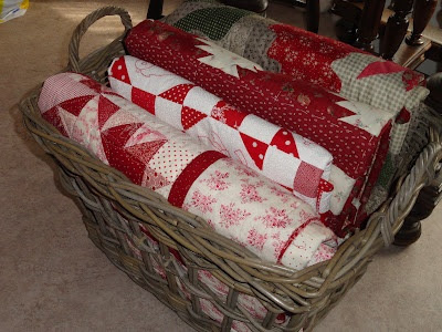 Basket of Red & White Quilts