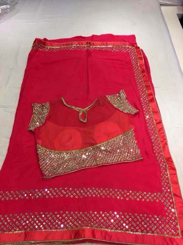 Georgett fancy mirror work sari paired with designer for Mirror work saree