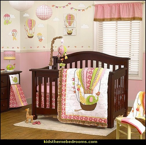 Hot Air Balloon Wall Murals Up Away Crib Bedding