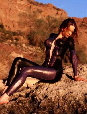 body paint girl in the middle of the desert
