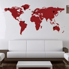 Vinilo de Pared Mapa Mundi Gigante